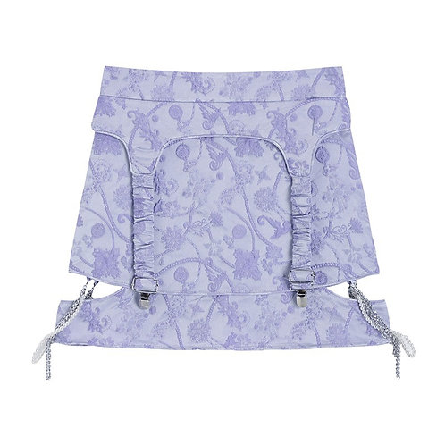 Purple Flower Embroidery Skirt with Pearl & Chain