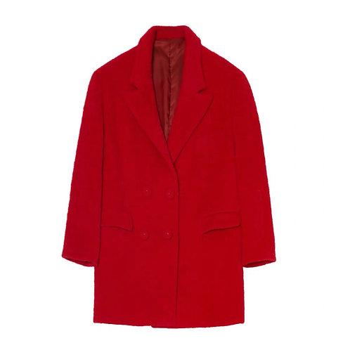 Unisex Extra Warm Red Faux Fur Blazer