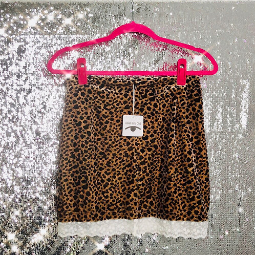 Leopard Skirt with Lace