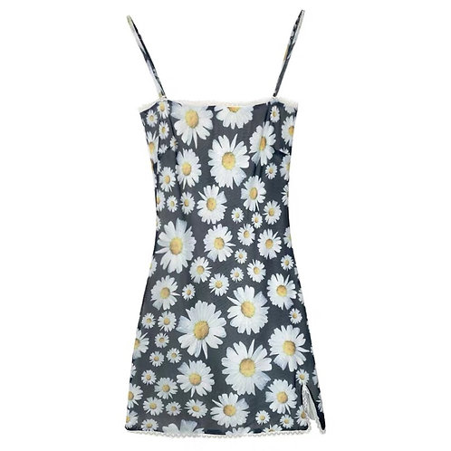 Daisy Print Strip Dress with Lace