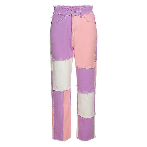 Purple and pink checked jeans