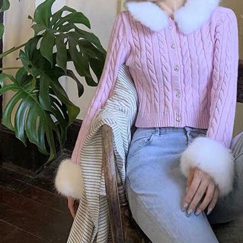 Baby Pink Cardigan with removable fluffy faux fur Collar and Cuff