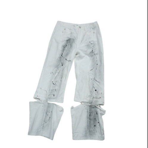 White straight pants with zip and paint