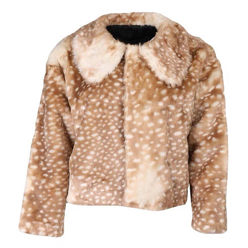 Deer Print Fuax Fur Jacket