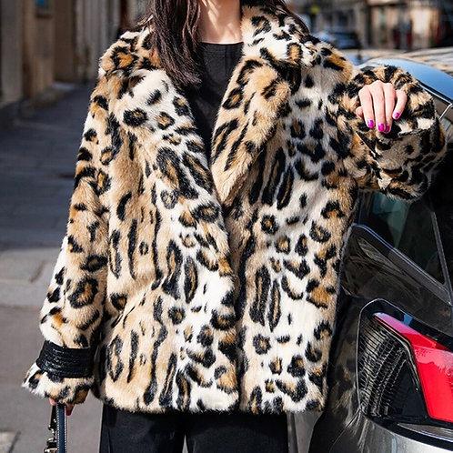 Leopard Faux Fur Loose Jacket