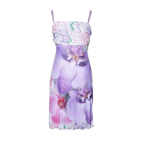 Purple Mesh Dress with Violet Print