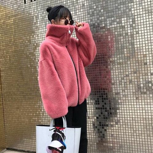 Pink Faux Fur Short Jacket With Turtleneck