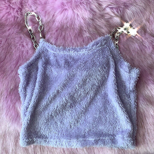 Lilac Towel Crop Top with Chain Strap
