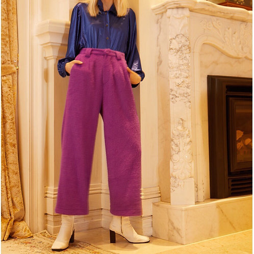 Unisex Purple High Waist Straight Pants
