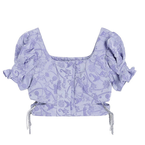 Purple Flower Embroidery Crop Top with Pearl & Chain