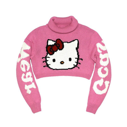 Pink Hello Kitty Print Crop Sweater
