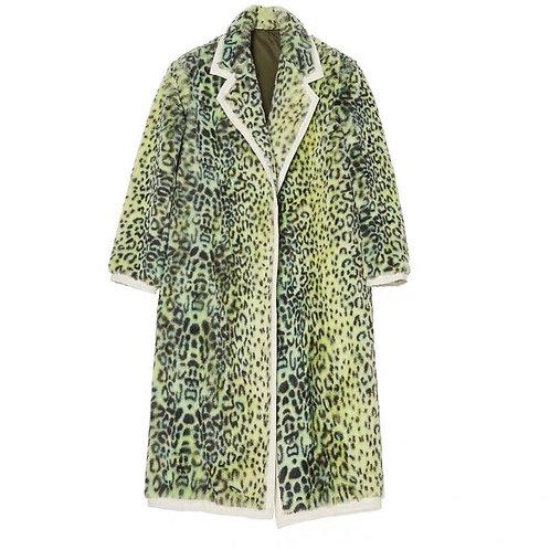Unisex Light Green Leopard Print Faux Fur Coat