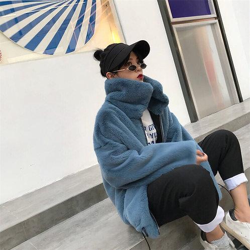 Blue Faux Fur Short Jacket With Turtleneck