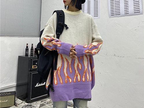 Cream/Purple Unisex Loose Fire Pattern Sweater