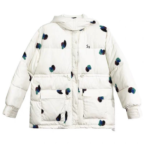 White Down Jacket with Blue Dotted