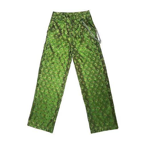 Green Chinese Qipao Dragon Flower Silk Pants