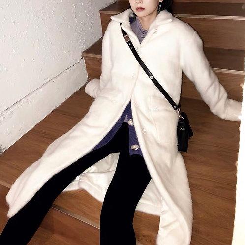 White Faux Fur Woolen Coat