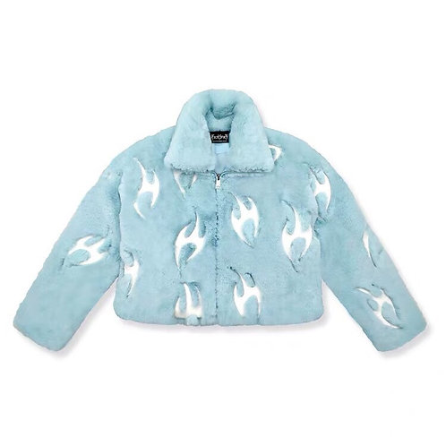 Babe Blue Faux Fur Jacket with 3M Reflective Fire