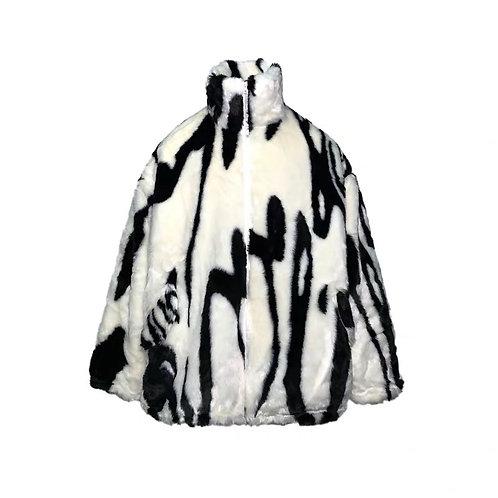Fur black and white jacket