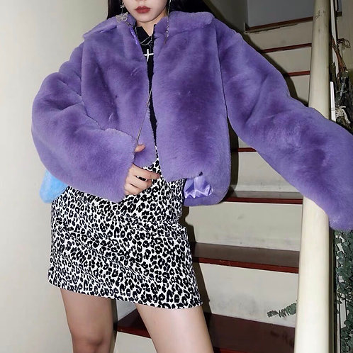 Purple Soft Fluffy Faux Fur Crop Jackets