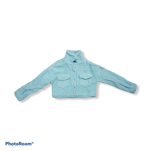 Blue fluffy cropped jacket with pockets