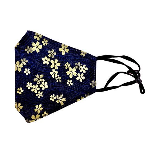 Handmade Dark Blue Cotton Mask with Golden Sakura Print