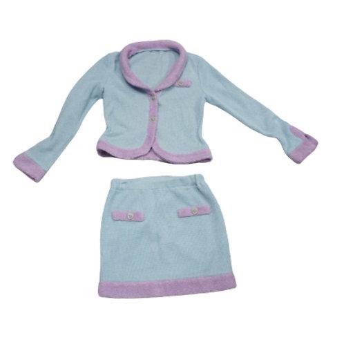 Blue with purple fur skirt and blazer set