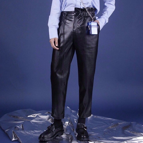 Unisex Black PU Leather Pants with Drawstring