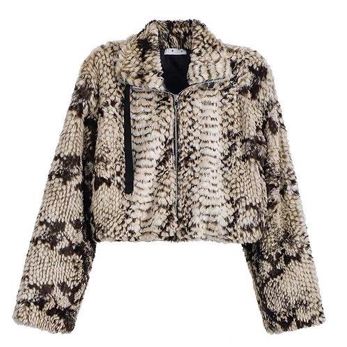 Extra Warm Snake Print Faux Fur Jacket
