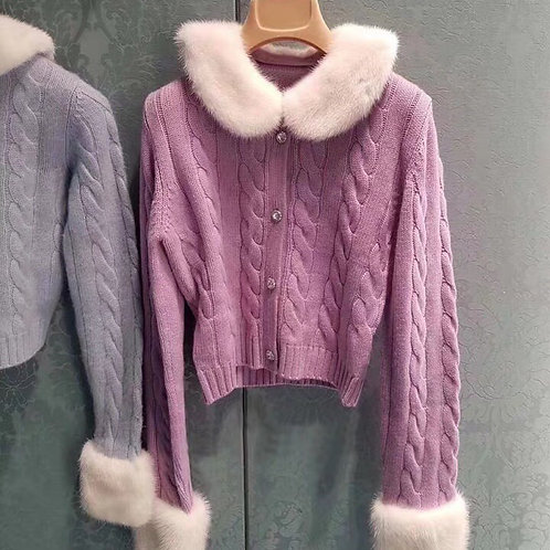 Baby Purple Cardigan with removable fluffy faux fur Collar and Cuff
