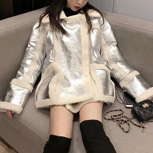 Silver/White Metallic Puff Jacket