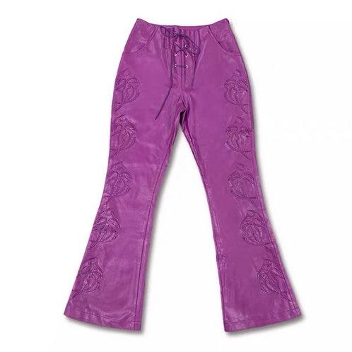Vegan leather flared pants
