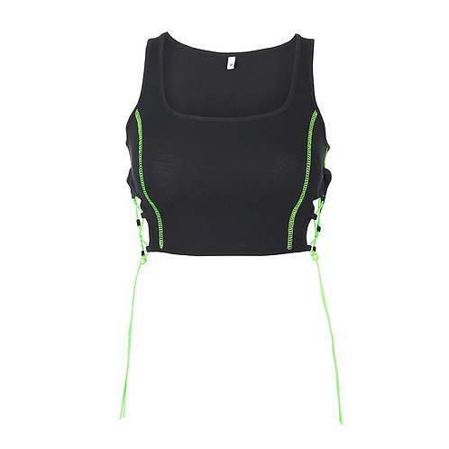 Black Strap Top with  Neon Green Drawstring