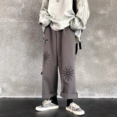Unisex Grey Elastic Straight Pants with Spider net Embroidery