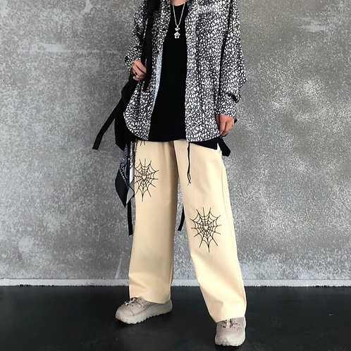Unisex Cream Elastic Straight Pants with Spider net Embroidery