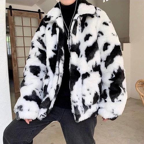 Unisex Cow Print Faux Fur Jacket