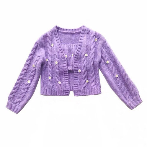 Purple Daisy Elastic Knitted Cardigan