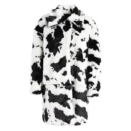 Extra Warm Cow Print Faux Fur Coat