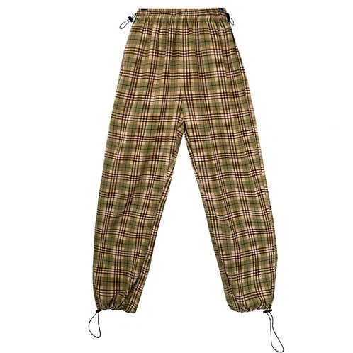 Checked Straight Pants with Drawstring