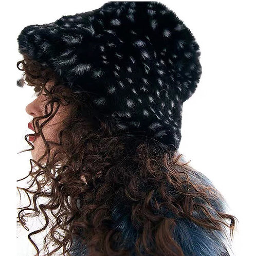 Black with White dots Faux Fur bucket Hat&Bag with diamonds chain