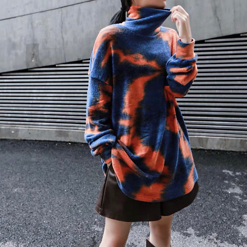 Blue/Orange Turtleneck Sweater