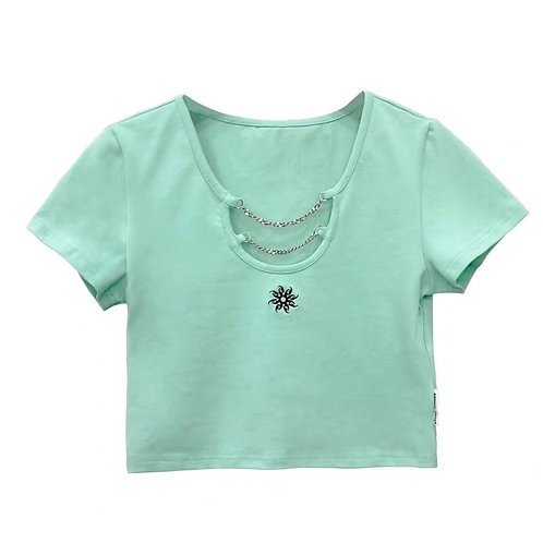 Crop Shirt with Chain & Embroidery