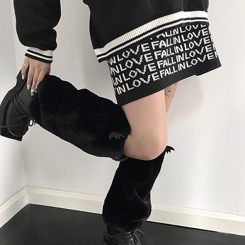 Black Soft Fluffy Leg Warmers with Demon Wing