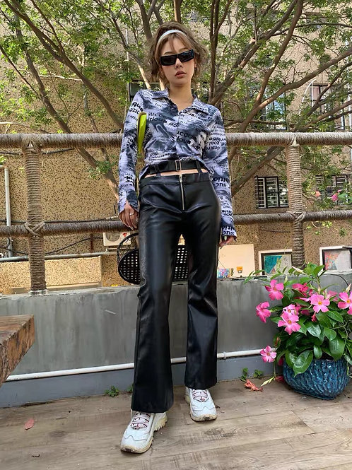 Black PU Leather Flared Pants