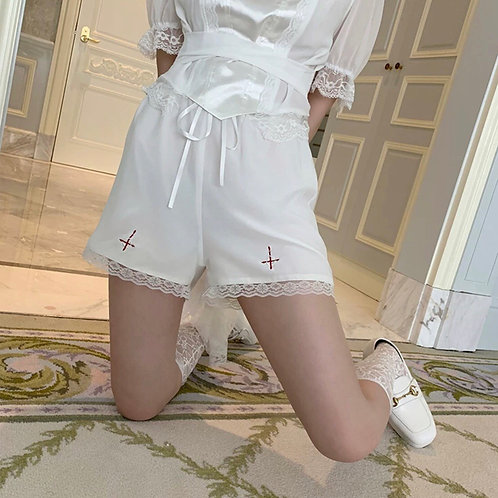 🎃 Halloween Special 🎃 White Chiffon Lace Shorts with Cross