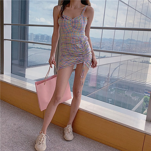 Purple Checked Strap Dress