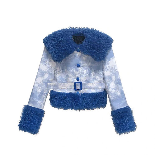 Extra Warm Cotton Crop Jacket with Blue Faux Fur