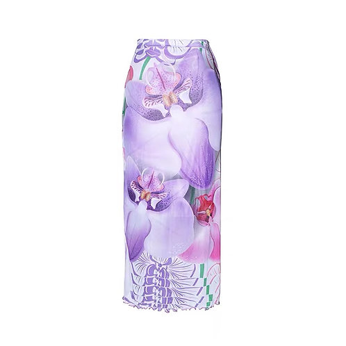 Mesh purple butterfly print  midi skirt