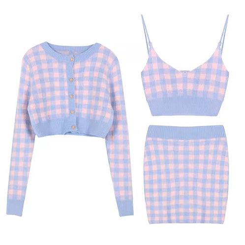 Knitted Checked Cardigan Strap Top & Skirt Set