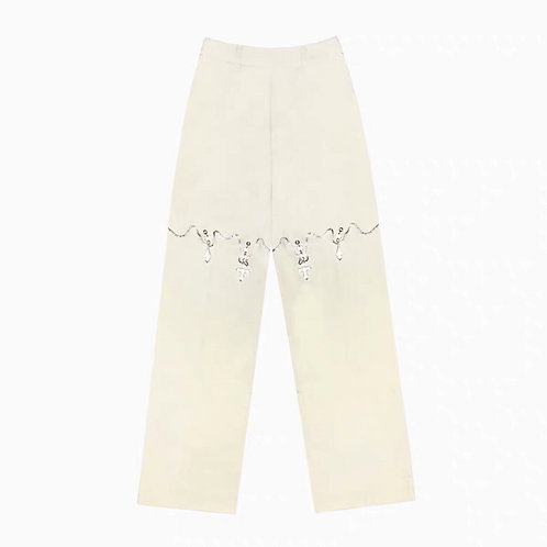 White Straight Pants with Diamond Crossing